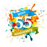 55 years anniversary. Splash paint. Fifty five years anniversary. Vector watercolor splash paint stock illustration