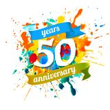 50 years anniversary. Splash paint. Fifty years anniversary. Vector watercolor splash paint royalty free illustration