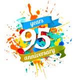 95 years anniversary. Splash paint. Ninety five years anniversary. Vector watercolor splash paint Stock Photo