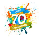 70 years anniversary. Splash paint. Seventy years anniversary. Vector watercolor splash paint Vector Illustration