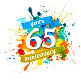 65 years anniversary. Splash paint. Sixty five years anniversary. Vector watercolor splash paint royalty free illustration