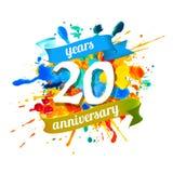 20 years anniversary. Splash paint. Twenty years anniversary. Vector watercolor splash paint Stock Illustration