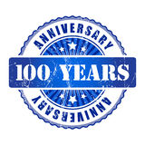 100 Years anniversary stamp. 100 Years anniversary  blue ribbon stamp Royalty Free Stock Images