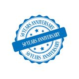 50 years anniversary stamp illustration. 50 years anniversary blue stamp seal illustration design Stock Photography