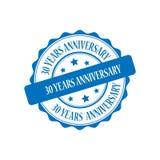30 years anniversary stamp illustration. 30 years anniversary blue stamp seal illustration design Stock Photo
