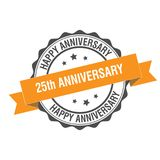 25 years anniversary stamp illustration. 25th anniversary stamp seal illustration design Stock Images