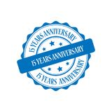 15 years anniversary stamp illustration. 15 years anniversary blue stamp seal illustration design Royalty Free Stock Photography