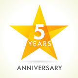 5 years anniversary star logo stock illustration