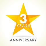 3 years anniversary star logo Royalty Free Stock Photography