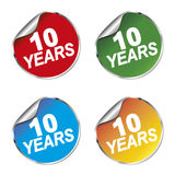 10 years anniversary sticker. 4 10 years anniversary sticker set Stock Images