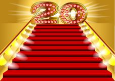 20 years. Anniversary. symbol on the lighted stairs Royalty Free Illustration