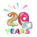 20 Years Anniversary. Template Logo Celebration Isolated on White Background Vector Illustration