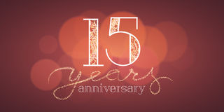 15 years anniversary vector banner. Icon, logo. Graphic design element with bokeh effect for 15th birthday card or illustration Royalty Free Stock Photo