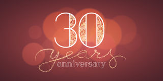30 years anniversary vector banner. Icon, logo. Graphic design element with bokeh effect for 30th birthday card or illustration Stock Images