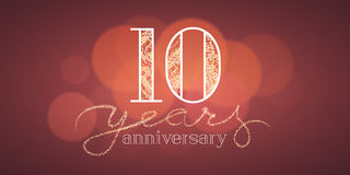 10 years anniversary vector banner. Icon, logo. Graphic design element with bokeh effect for 10th birthday card or illustration Royalty Free Stock Photo