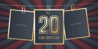 20 years anniversary vector emblem, logo. Template design element, greeting card with collage of empty photo frames on festive background for 20th anniversary Royalty Free Stock Image