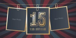 15 years anniversary vector emblem, logo. Template design element, greeting card with collage of empty photo frames on festive background for 15th anniversary Royalty Free Stock Photos