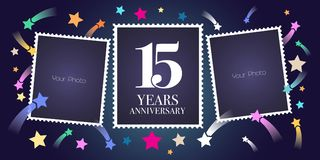 15 years anniversary vector emblem, logo. Template design, greeting card with photo frame collage on festive background for 15th anniversary royalty free illustration