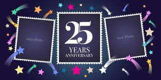 25 years anniversary vector emblem, logo. Template design, greeting card with photo frame collage on festive background for 25th anniversary Royalty Free Stock Photo