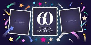 60 years anniversary vector emblem, logo. Template design, greeting card with photo frame collage on festive background for 60th anniversary Royalty Free Illustration