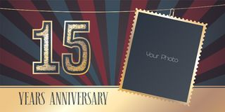 15 years anniversary vector emblem, logo in vintage style. Template design, greeting card with photo frame collage on retro background for 15th anniversary Royalty Free Stock Photography