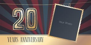20 years anniversary vector emblem, logo in vintage style. Template design, greeting card with photo frame collage on retro background for 20th anniversary Stock Photos