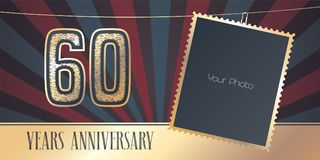 60 years anniversary vector emblem, logo in vintage style Royalty Free Stock Photo
