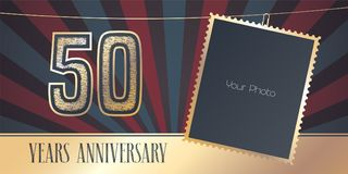 50 years anniversary vector emblem, logo in vintage style Stock Images