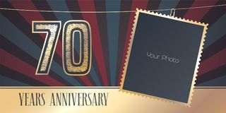 70 years anniversary vector emblem, logo in vintage style. Template design, greeting card with photo frame collage on retro background for 70th anniversary Royalty Free Stock Images