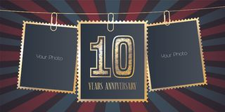 10 years anniversary vector emblem, logo. Template design element, greeting card with collage of empty photo frames on festive background for 10th anniversary Royalty Free Illustration