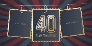 40 years anniversary vector emblem, logo Stock Image