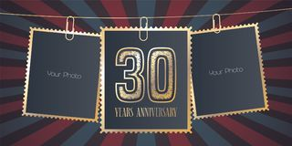 30 years anniversary vector emblem, logo. Template design element, greeting card with collage of empty photo frames on festive background for 30th anniversary Royalty Free Stock Photos