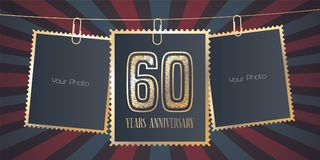 60 years anniversary vector emblem, logo Royalty Free Stock Image