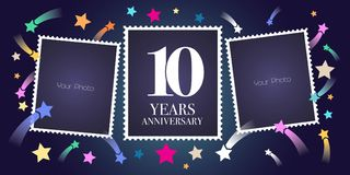 10 years anniversary vector emblem, logo. Template design, greeting card with photo frame collage on festive background for 10th anniversary Royalty Free Illustration