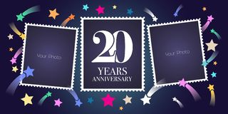 20 years anniversary vector emblem, logo. Template design, greeting card with photo frame collage on festive background for 20th anniversary Vector Illustration