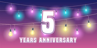 5 years anniversary vector icon, banner. Graphic design element or logo with abstract background for 5th anniversary Stock Photos
