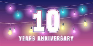10 years anniversary vector icon, banner. Graphic design element or logo with abstract background for 10th anniversary Stock Photos