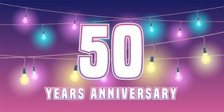 50 years anniversary vector icon, banner. Graphic design element or logo with abstract background for 50th anniversary Royalty Free Stock Photography