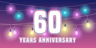 60 years anniversary vector icon, banner. Graphic design element or logo with abstract background for 60th anniversary Stock Images