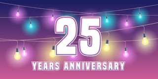 25 years anniversary vector icon, banner. Graphic design element or logo with abstract background for 25th anniversary Royalty Free Stock Photography