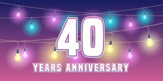 40 years anniversary vector icon, banner. Graphic design element or logo with abstract background for 40th anniversary Stock Photography