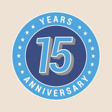 15 years anniversary vector icon, emblem. Design element with blue color medal as a banner for 15th anniversary royalty free illustration