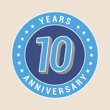 10 years anniversary vector icon, emblem. Design element with blue color medal as a banner for 10th anniversary vector illustration