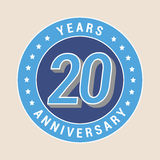 20 years anniversary vector icon, emblem. Design element with blue color medal as a banner for 20th anniversary Stock Photography