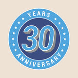 30 years anniversary vector icon, emblem. Design element with blue color medal as a banner for 30th anniversary Stock Images