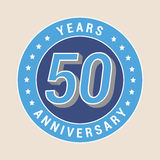50 years anniversary vector icon, emblem. Design element with blue color medal as a banner for 50th anniversary vector illustration
