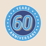 60 years anniversary vector icon, emblem. Design element with blue color medal as a banner for 60th anniversary stock illustration