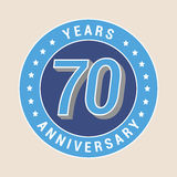 70 years anniversary vector icon, emblem. Design element with blue color medal as a banner for 70th anniversary Royalty Free Stock Image