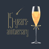 15 years anniversary vector icon. Graphic design element with golden lettering and glass of champagne for 15th anniversary greeting card or banner stock illustration