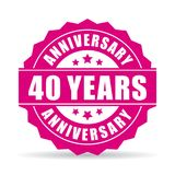 40 years anniversary vector icon. Isolated on white background Royalty Free Stock Photography